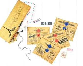 Postal Mini Envelope Set/ Scrapbook Envelopes/ Journaling Envelopes /Snail Mail Envelopes /Note Card Envelope/ Junk Journal