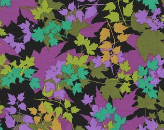 SALE 1-2/3rd yds Maple Leaves on Black Carla Miller Rowan Fabrics Leaves in Purple Lavender Aqua Acid Green Gold Quilting Cotton Weight