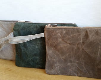 waxed cotton pouch, wristlet, iPad case, beauty case, waterproof, StealthLite recoil led, ipad clutch