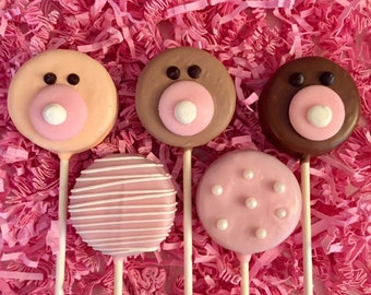 Baby girl Oreo cookie pops / baby shower / party favor / birth announcement / one dozen (12)