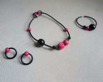 ISOTTA - set of necklace, bracelet and earrings of rubber and wood