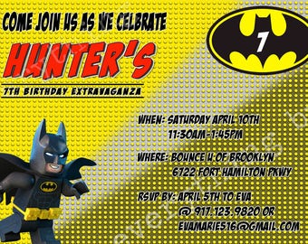 Personalized Batman Lego Invitation