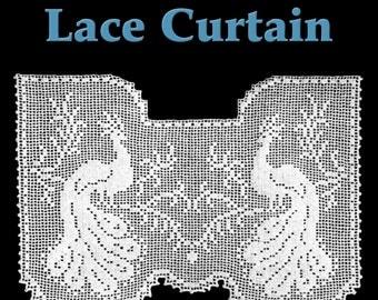 Regal Peacocks Lace Curtain Filet Crochet Pattern