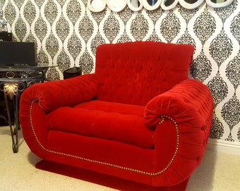Real Vintage Red tufted Velour seat couch chair settee sofa.