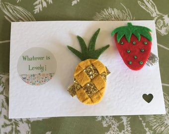 Pineapple and Strawberry Hair Clip/Pin Badge Set