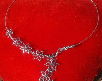 Organic Floral Necklace, Stainless steel wire choker