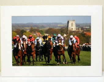 Mounted Photograph of Racehorses at Beverley Racecourse, East Yorkshire.