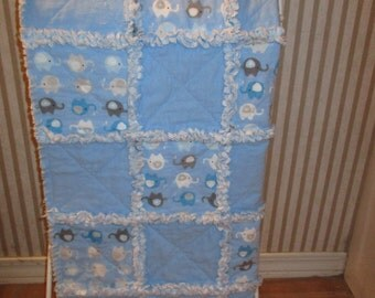 Elephant Rag Baby Quilt-3 piece set