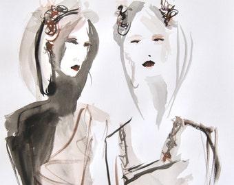 Geisha girls - Fashion Illustration - Art - Watercolor
