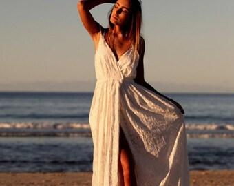 Beautiful boho beach wrap wedding dress