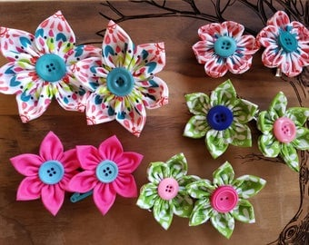 Fabric Flower Hair Clips, Barrettes, sets of 2