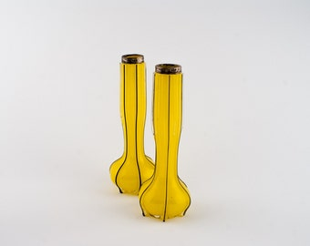 Art Nouveau Two Yellow Glass Vases with Silver Rims