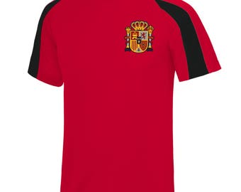 Adults and Kids Spain Espana  Vintage Football Shirt with Personalisation - Red / Black