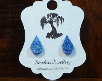 Blue Teardrop Earring Studs