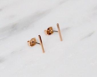 Rose Gold Line Earrings / Bar Earrings / Minimal Earrings / Geometric Earrings