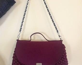 Crochet shoulder bag with flap