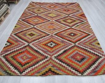 6' 10''x9' 10''Handwoven vintage decorative colourful Turkish kilim rug