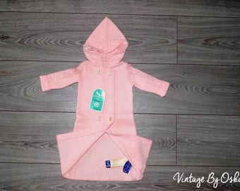 Vintage UNUSED  70s Gorgeous Quality Pink Baby Cardigan - Hood - French Vintage,acrylic Frimousset France,0-3 months,