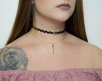 Black and Gold wavy chain choker