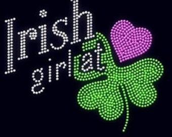 Irish Girl At Heart Rhinestone Iron on Transfer        RU2Y