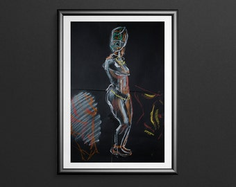 African Dancer 3 - Charcoal & Pastel Figure Drawing