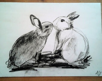 Bunny Kiss original charcoal drawing