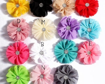 6.5cm 15 colors Artificial Solid Chic Ballerina Blossom Chiffon Flowers With Rhinestone Fabric Flowers For Headbands For Baby Hair Clips