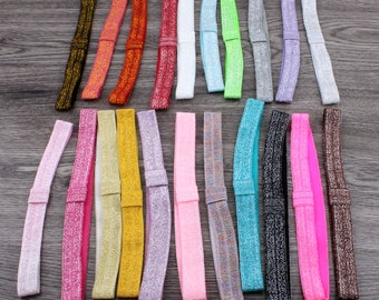 "5/8"" 21colors Solid Ribbon FOE Band for Hair Bows Fold Over Elastic Glitter Kids Headbands for Girls Hair Accessories"