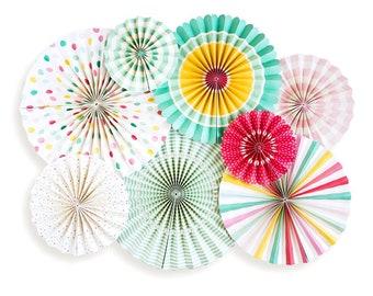 Party Paper Fans Paper Rosettes Party Paper Pinwheels Baby Shower Decor Birthday Party Decor Bridal Shower Decor Photo Backdrop Photo Prop
