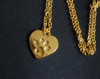 gold tone paw print necklace