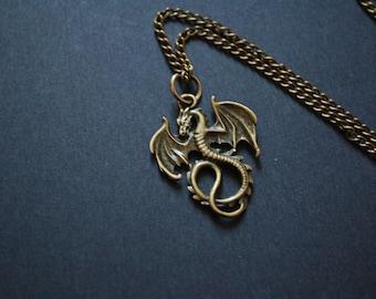 bronze tone dragon necklace