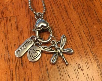 Believe / Heart / Dragon Fly Charm Necklace 12 inch Ball Chain / Heart Charm Holder
