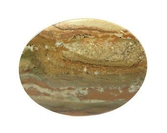 Scenic Earth Tone Jasper Oval Calibrated Flat Back Semiprecious Gemstone Cabochon, 40x30 mm Loose Gem for Jewelrymaking