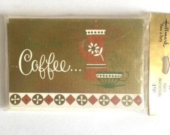 Package of 8 Vintage Hallmark Come for Coffee Invitations Unopened, Vintage Coffee Klatch, Mid Century, Party Invitations, Envelopes