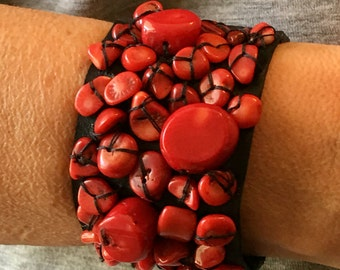 Leather Bracelet with Coral stones