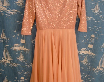 pink chiffon with sequined cotton knit top dress