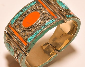 Tibetan jewelry,Boho Cuff,Beaded Trible Look Turquoise & Coral For Mother Gift