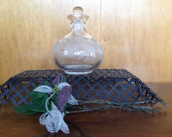 Antique Victorian Etched Glass Perfume Bottle with Glass Stopper