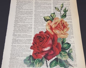 Vintage Dictionary Print - Roses