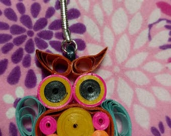 Quilled Owl Keychain with Blue Wings