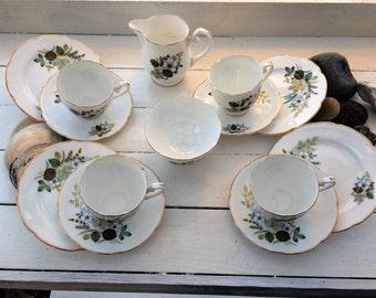 Vintage fine bone china tea set by Royal Grafton c 1950s