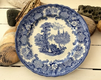 Vintage blue and white plate of Continental Cathedrals