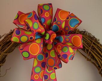Polka Dot Bow, Bubbles Bow, Birthday Bow, Summer Bow, Multi-Color Bow, Fushia Bow, Party Bow