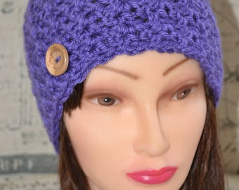 Handmade Knit Crochet Beanie, Hat with Button, in Violet/Purple