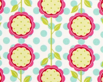 SALE Designer fabric Patty Young Mod Blooms for Michael Miller Fabrics Pink Flower 100% Cotton Fabric Remnant