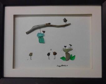 bird bath, pebble art, sea glass, bird house, 7x9 framed, original