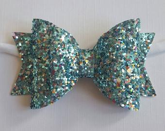Blue sparkle bow, sparkle bow, blue bow, blue sparkly bow, glitter hair bow, girls hairbow, girls bow, blue hair clip, party bow.