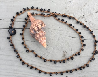 Black Bead Crocheted on Tan Skin-Toned Cord Wrap-Necklace