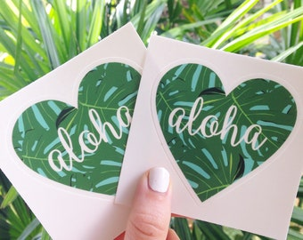 Aloha Sticker, Laptop Sticker, Vinyl Sticker, Tropical Leaf, Water Bottle Decal, Cool Stickers, Macbook Stickers, Gift for Her, Palm Leaf