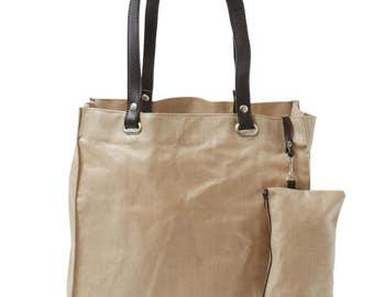 Bag and pouch 100% linen Taupe color